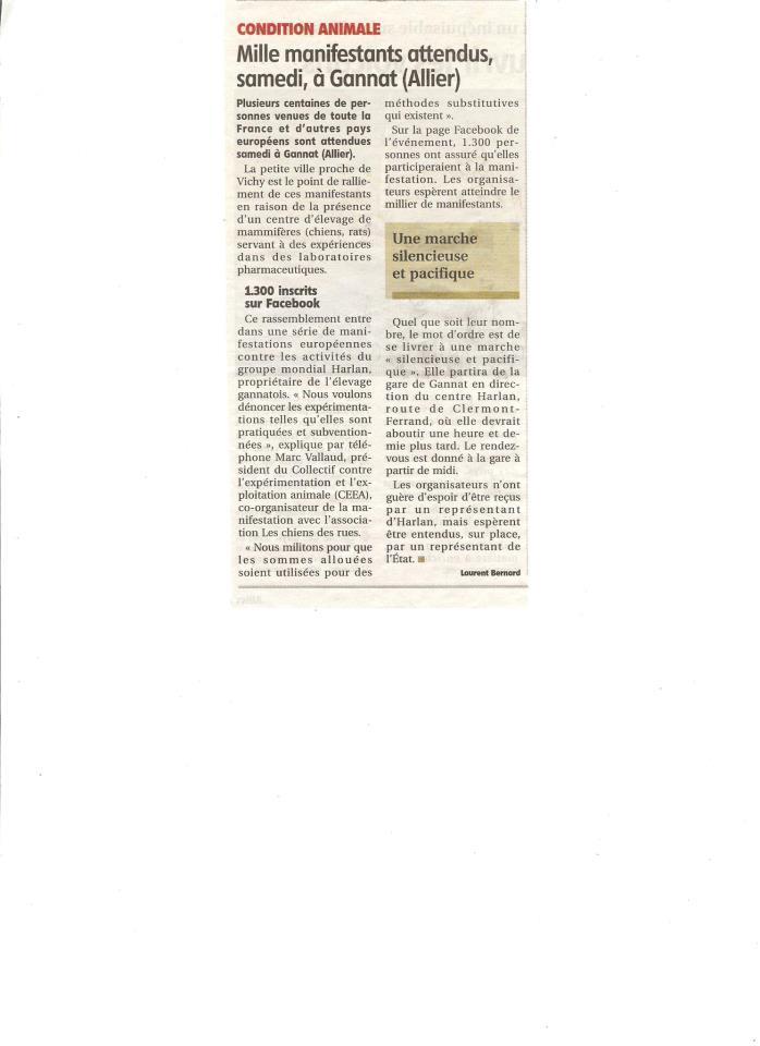 manifestation à Gannat contre la vivisection (article La Montagne) 424103_4726428931766_385287906_n2